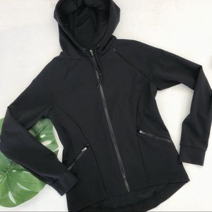 Fabletics Black Hoodie Pin tucked Back Size S EUC